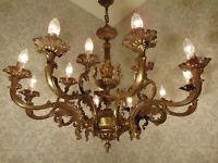 antik großer 15 Fl  Kronleuchter Lüster Deckenlampe Engel  Bronze ca.1930
