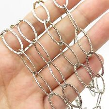 925 Sterling Silver Unique Long Hammered  Chain Necklace 34""