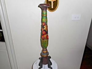 Large vintage hand carved wooden candlestick