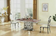 D'AMORE ELEGANT STUNNING SILVER DINING TABLE MARBLE FURNITURE
