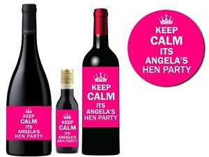 PERSONALISED HEN DO PARTY WINE CHAMPAGNE PROSECCO STICKERS PINK GLOSS LABELS