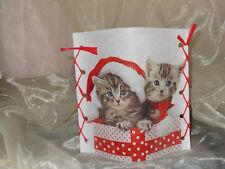 Deko Windlicht Katze Katzen mit Weihnachtsmütze Tischlicht Unikat Geschenkidee