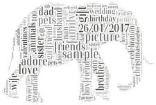 Personalised elephant picture. Elephant  Wordcloud. Personalised animal gift