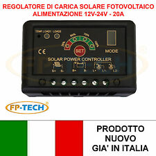 REGOLATORE DI CARICA SOLARE PWM 20 A 12V 24V CONTROLLER BATTERIA PANNELLO FOTOVO