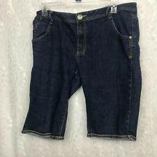 Fubu vintage dark wash Bermuda shorts flap embroidered pockets Sz 16 plus