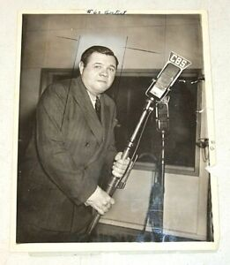 BABE RUTH Original Candid Photo using CBS Microphone as Bat Released May 1, 1937