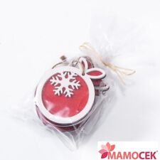 PALLA PALLINA 6pz Legno Rosso Decorazione Addobbo Albero di Natale cm.5,5