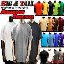 Big and Tall Size Men Plain Heavy Weight  S/S T-shirts Crew Neck 8OZ By basix