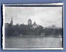 Suisse, Thun (Thoune), Panorama  Vintage silver print.  Tirage argentique  6