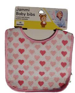 Jammi Baby Bib - Newborns - Pink & Red 💕 Easy Closure & Machine Washable