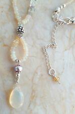 ETHIOPIAN Fire Opal Rainbow Moonstone Pearl Sterling Silver Necklace Sundance