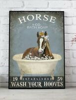 Horse Wash Your Paws Vertical Poster Home Wall Decor No Frame Glossy Art Print
