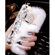 NEW WHITE FUR DIAMOND DESIGNER BLING DIAMANTE CASE COVER GIFT IPHONE HANDMADE UK