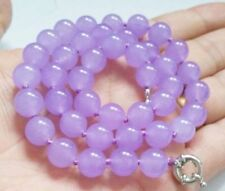 Gemstone Round Beads Necklace 18'' Fashion Women's 10mm Natural Lavender Jade