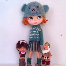 cute Blythe doll handmade clothes knit chunky sweater hat leggings outfit