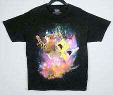 Nickelodeon Spongebob Mens Black T-Shirt Patrick Cat Galaxy Squarepants Size L