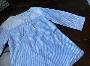 New Tommy Bahama Women's Linen Striped Blue Shirt Blouse XS - NWOT