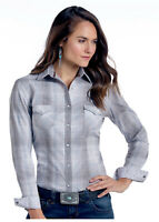 Panhandle Slim Women's Grey & Blue Vintage Plaid Snap Up Western Shirt R4S9439