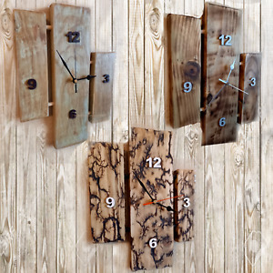 Rustic Wood Wall Clock Split Panel Shabby Chic Distressed Charred Wood
