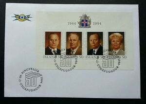 Iceland President 1994 Political Famous People (miniature FDC)