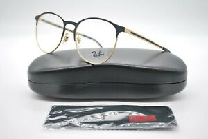 NEW RAY BAN RB 6375 3051 BLACK AND GOLD AUTHENTIC EYEGLASSES FRAMES RX 53-18