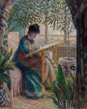 Madame Monet Embroidering by Claude Monet 60cm x 48cm Art Paper Print