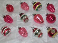 """VINTAGE SHINY BRITE GLASS CHRISTMAS TREE ORNAMENTS EXCELLENT SMALL 2"""""""