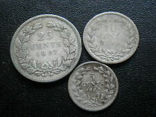 Netherlands 1862 5 Cents, 1890 10 Cents & 1897 25 Cents
