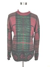 Womens Black Burgundy Green Shimmer Plaid Ugly Christmas Holiday Sweater Size M
