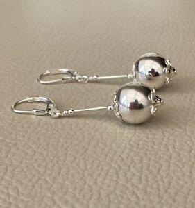 Elegant Genuine Solid 925 Sterling Silver Drop Earrings Lever Backs