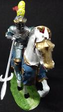 ELASTOLIN chevalier français en armure joutant sur son destrier caparaçonné