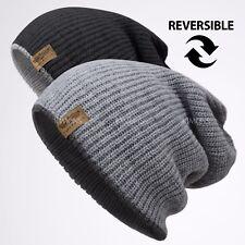 Reversible Baggy Beanie Knit Slouchy Oversize Winter Hat Ski Cap Skull Womens
