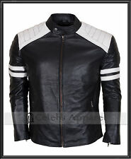 Tyler Durden Brad Pitt Fight Club Mayhem Retro Biker Black Leather Jacket - Mens