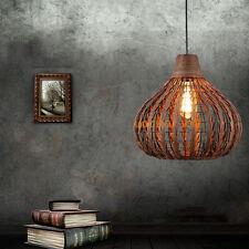 Retro Rattan Metal Caged Shade Pendant Lamp Industrial Ceiling Lighting Fixtures
