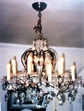 Vintage- Austrian Smoked Brass Crystal Chandelier