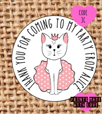 Personalised cat party bag stickers , sweet cone labels , thank you 3c