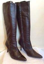 DARK BROWN LEATHER KNEE HIGH BOOTS SIZE 5/38