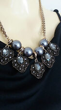 Grey Bead Pearl Statement Necklace