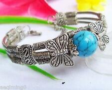 Fancy Jewellery Tibet silver Butterfly 12mm Turquoise Bracelet
