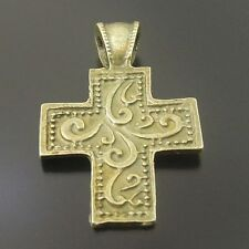20pcs Antiqued Bronze Vintage Alloy Flower Pattern Cross Pendant Charms 33656