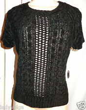 WORTH Solid Black Chenille Honeycomb Cable Tee Knit Top size: M $228 NWT