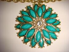 Amrita Singh Della Femina daisy Turquoise resin  necklace  Austrian crystals