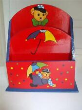Hand Painted Bear Clown w Umbrella Red Blue on Wood Mail Letter Holder 2 Pockets