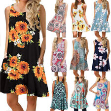 Women Boho Floral Pockets Mini Dress Casual Party Evening Summer Tank Sundress