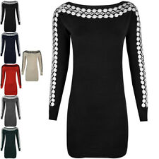 LADIES WOMENS LONG SLEEVE JUMPER DRESS MINI KNITTED STRETCHY BODYCON SWEATER TOP