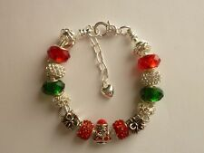 Silver Tone European Style Charm Bracelet Santa Claus Presents Merry Christmas
