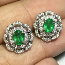 1.52CT NATURAL DIAMOND 14K WHITE GOLD EMERALD WEDDING ANNIVERSARY STUD EARRING