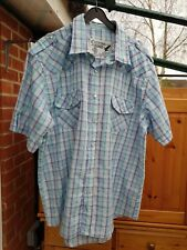 "Men's 'Cutting Edge' Blue Mix Checked Shirt, Size L (Chest 48"") Good Condition"