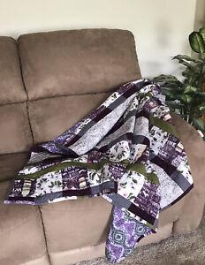 Beautiful Handmade Purple Wine Quilted Blanket