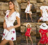 Women's Boho Floral Chiffon Summer Party Evening Beach Mini Dress Sundress Skirt